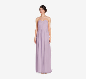 Everly Strapless Chiffon Dress With Gathered Bodice In Dusty Lilac