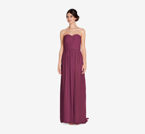 Everly Strapless Chiffon Dress With Gathered Bodice In Cabernet