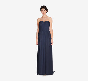 Everly Strapless Chiffon Dress With Gathered Bodice In Navy