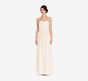 Everly Strapless Chiffon Dress With Gathered Bodice In Champagne