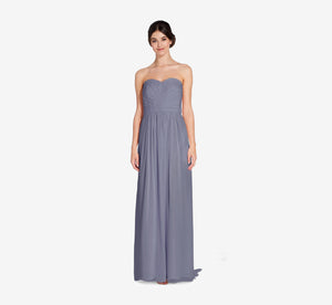 Everly Strapless Chiffon Dress With Gathered Bodice In Dusty Blue