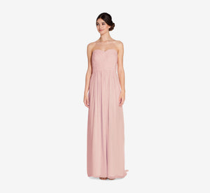Everly Strapless Chiffon Dress With Gathered Bodice In Rose