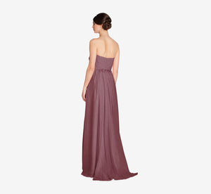 Everly Strapless Chiffon Dress With Gathered Bodice In Marsala