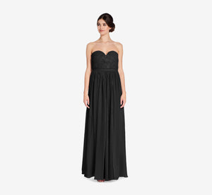 Hailey Strapless Chiffon Dress With Slit In Black
