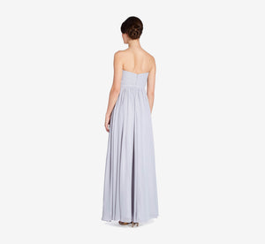 Hailey Strapless Chiffon Dress With Slit In Whisper