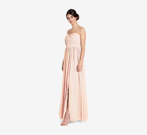 Hailey Strapless Chiffon Dress With Slit In Blush