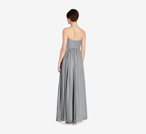 Hailey Strapless Chiffon Dress With Slit In Slate Grey