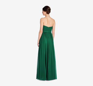 Hailey Strapless Chiffon Dress With Slit In Evergreen