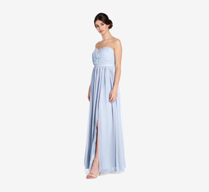 Hailey Strapless Chiffon Dress With Slit In Cloudy
