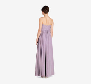 Hailey Strapless Chiffon Dress With Slit In Dusty Lilac