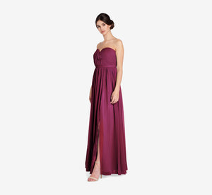 Hailey Strapless Chiffon Dress With Slit In Cabernet