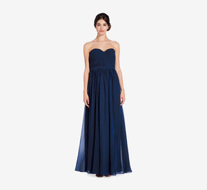 Hailey Strapless Chiffon Dress With Slit In Navy