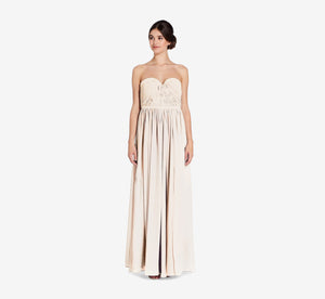 Hailey Strapless Chiffon Dress With Slit In Champagne