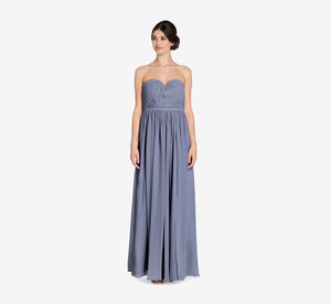 Hailey Strapless Chiffon Dress With Slit In Dusty Blue