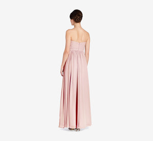 Hailey Strapless Chiffon Dress With Slit In Rose