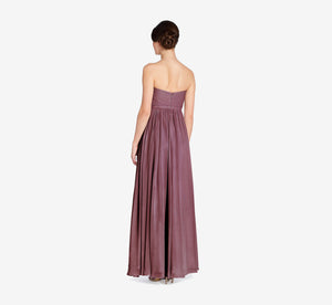 Hailey Strapless Chiffon Dress With Slit In Marsala