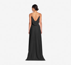 Hazel Sleeveless Chiffon Dress With Surplice Bodice In Black