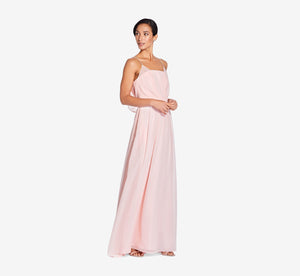 Hazel Sleeveless Chiffon Dress With Surplice Bodice In Blush