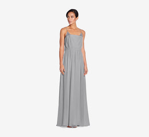 Hazel Sleeveless Chiffon Dress With Surplice Bodice In Slate Grey