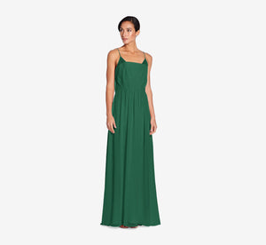 Hazel Sleeveless Chiffon Dress With Surplice Bodice In Evergreen