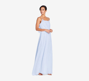 Hazel Sleeveless Chiffon Dress With Surplice Bodice In Cloudy