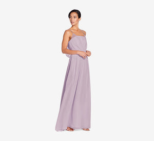 Hazel Sleeveless Chiffon Dress With Surplice Bodice In Dusty Lilac