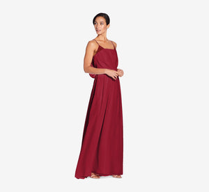 Hazel Sleeveless Chiffon Dress With Surplice Bodice In Cabernet