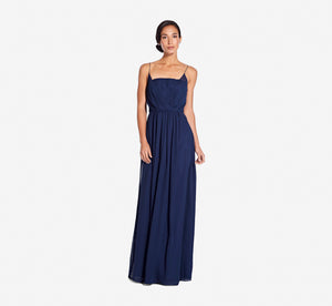 Hazel Sleeveless Chiffon Dress With Surplice Bodice In Navy