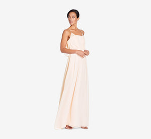 Hazel Sleeveless Chiffon Dress With Surplice Bodice In Champagne
