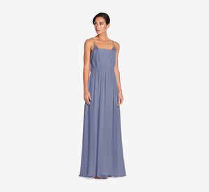 Hazel Sleeveless Chiffon Dress With Surplice Bodice In Dusty Blue