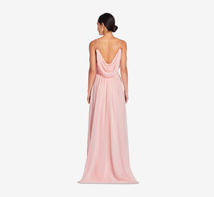 Hazel Sleeveless Chiffon Dress With Surplice Bodice In Rose