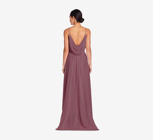 Hazel Sleeveless Chiffon Dress With Surplice Bodice In Marsala