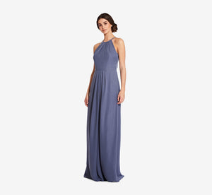Isabelle Chiffon Halter Dress With Banded Waist In Dusty Blue