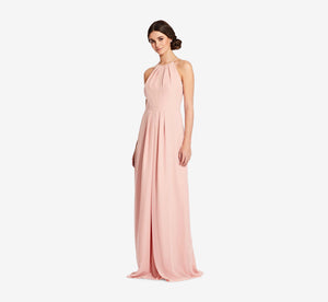 Isabelle Chiffon Halter Dress With Banded Waist In Rose