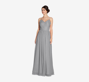 Jocelyn Lace And Tulle Dress With Spaghetti Straps In Slate Grey