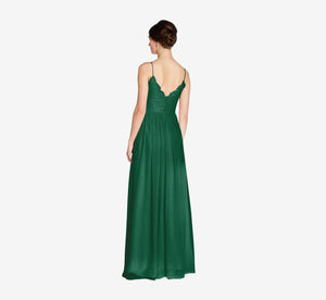 Jocelyn Lace And Tulle Dress With Spaghetti Straps In Evergreen