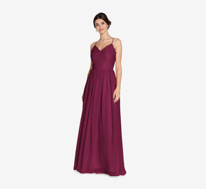 Jocelyn Lace And Tulle Dress With Spaghetti Straps In Cabernet