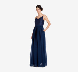 Jocelyn Lace And Tulle Dress With Spaghetti Straps In Navy
