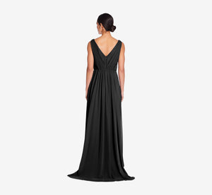 Juliette Sleeveless Chiffon Dress With Draped Back In Black