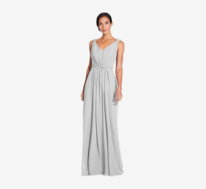 Juliette Sleeveless Chiffon Dress With Draped Back In Whisper