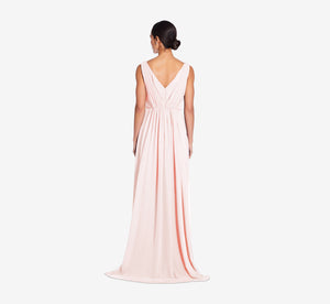 Juliette Sleeveless Chiffon Dress With Draped Back In Blush