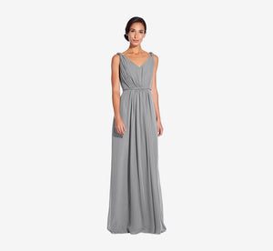 Juliette Sleeveless Chiffon Dress With Draped Back In Slate Grey