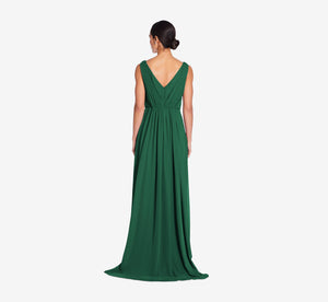 Juliette Sleeveless Chiffon Dress With Draped Back In Evergreen