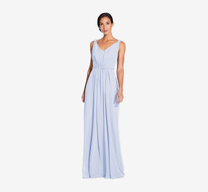Juliette Sleeveless Chiffon Dress With Draped Back In Cloudy