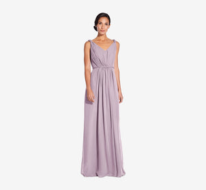Juliette Sleeveless Chiffon Dress With Draped Back In Dusty Lilac