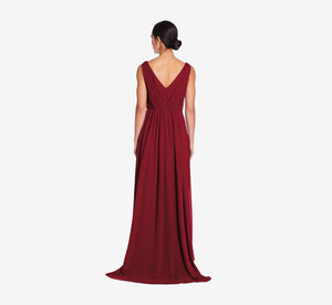 Juliette Sleeveless Chiffon Dress With Draped Back In Cabernet