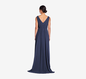 Juliette Sleeveless Chiffon Dress With Draped Back In Navy