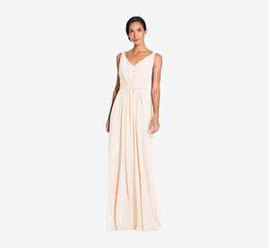 Juliette Sleeveless Chiffon Dress With Draped Back In Champagne