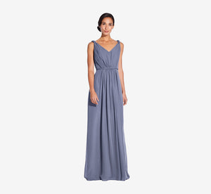 Juliette Sleeveless Chiffon Dress With Draped Back In Dusty Blue