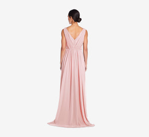 Juliette Sleeveless Chiffon Dress With Draped Back In Rose
